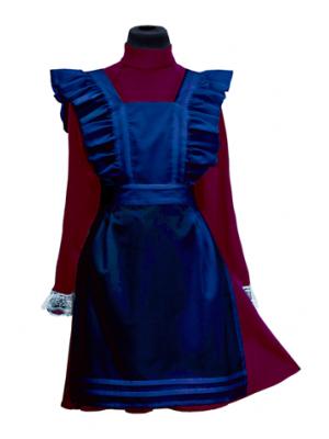 Фартук  синий шёлковый
